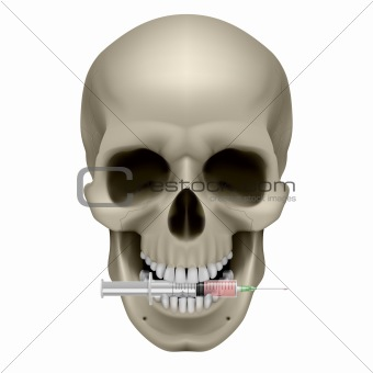 Realistic skull with a cigarette