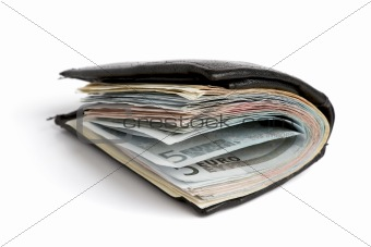many banknotes in wallet