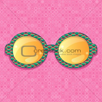 Green Pattern Frame with Orange Shiny Glasses. Vector Accessory Ilustration