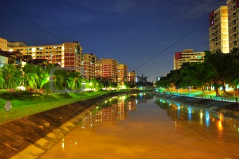 A river by night at Pasir Ris, Singapore