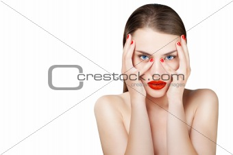 Beautiful fashion portrait of female face with red lips