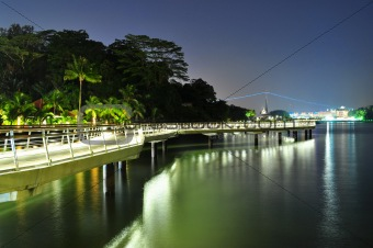 A coastal walkway by night with reflection