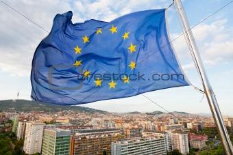 Flag of Europe under Barcelona