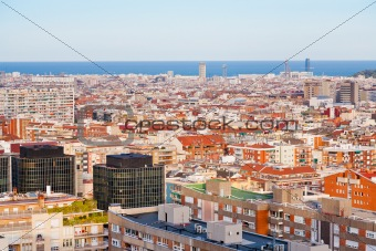 view of Barcelona in evening