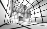 3d render white tiled labyrinth
