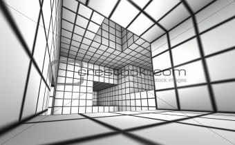 3d render white tiled labyrinth