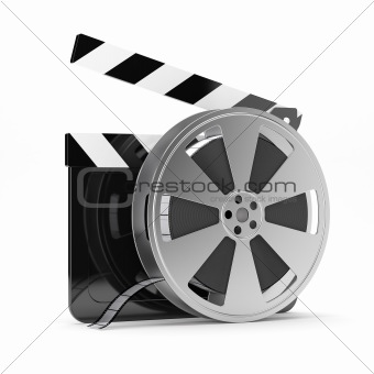 Clapper board with film reel