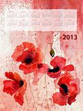 Retro Stylized calendar with Poppy flowers