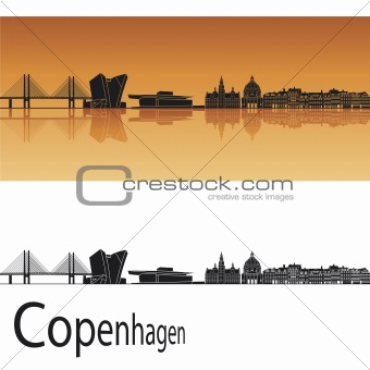 Copenhagen skyline in orange background