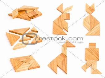 Isolated tangram with few figures