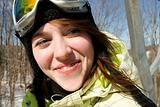 Close up of beautiful woman skier