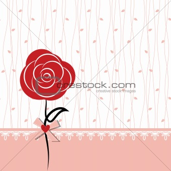 Card design with red rose