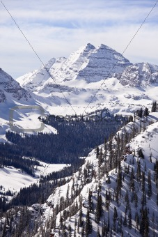 Maroon Bells With Snow