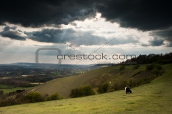 Beautiful sunset beams over rolling countryside landscape