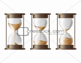 Sand falling in the hourglass in three different states