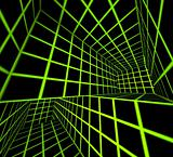 futuristic green on black 3d render tiled labyrinth