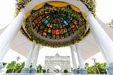 pavilion with stained glass