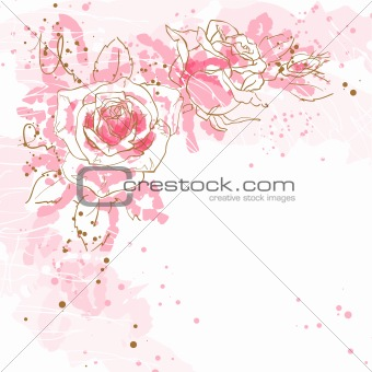 Romantic vector background with roses