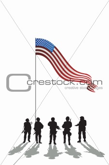 Five soldiers silhouette