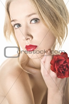 Beauty women portrait with red rose