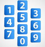 Ten blue 3d banners with numbers