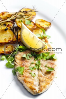 grilled mackerel with roasted potatoes