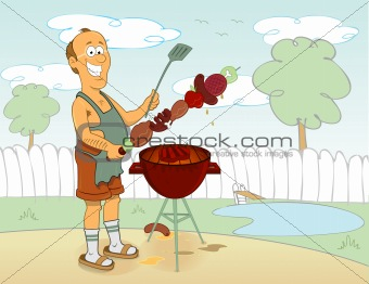 Cook barbecue man