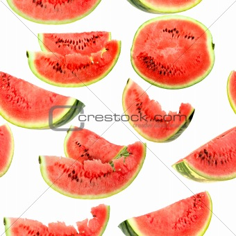 Background with red slices of watermelon