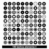 set of 100 techno elements