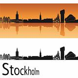 Stockholm skyline in orange background