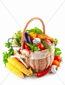 fresh vegetables with green leaves in basket