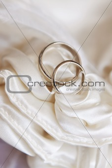 two wedding rings of white gold on white satin fabric