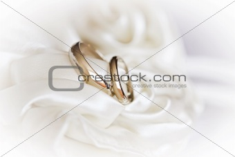 pair of wedding rings on a white fabric, high key