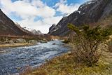 rural valley with riveron norway