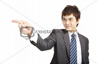 asian businessman finger pointing