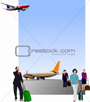 Airport scene . Vector illustration for designers