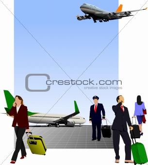 Airport scene . Vector illustration for designers