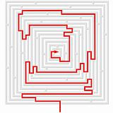 grey maze with red solution