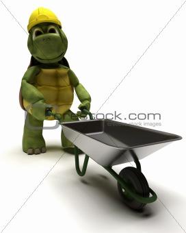 tortoise Builder with a wheel barrow