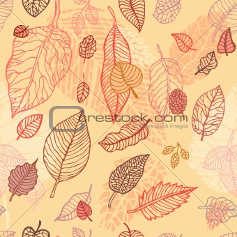 Autumn falling leaves  seamless background