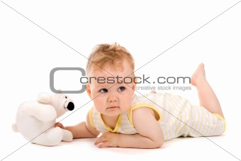 Cute baby lying on tummy