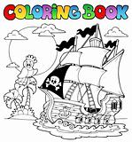 Coloring book with pirate ship 2