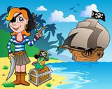 Pirate girl on coast 1