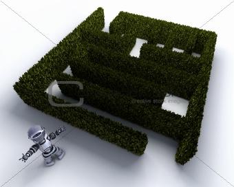 Robot at the start of a maze