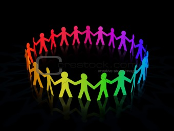 colorful rainbow paper men circle