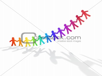 colorful rainbow paper men fly