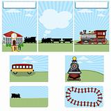 Steam train stationary template