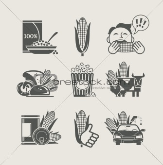 corn and products set icon