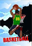 Basketball players poster. Colored Vector illustration for desig