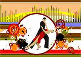 Grunge musical background with dancing pair. Vector illustration